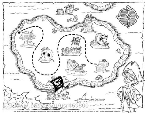 Карта с сокровищами раскраска