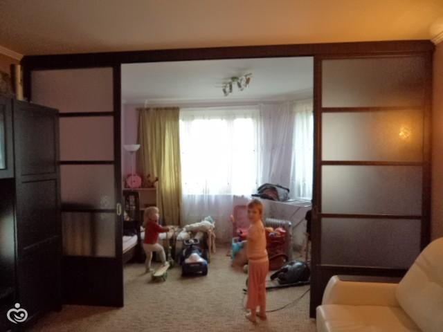 разделить комнату раздвижными дверями фото
