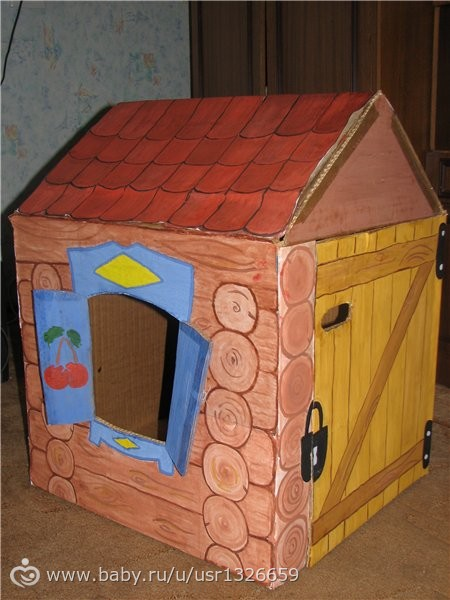 Как сделать из картонной коробки домик для кукол своими руками