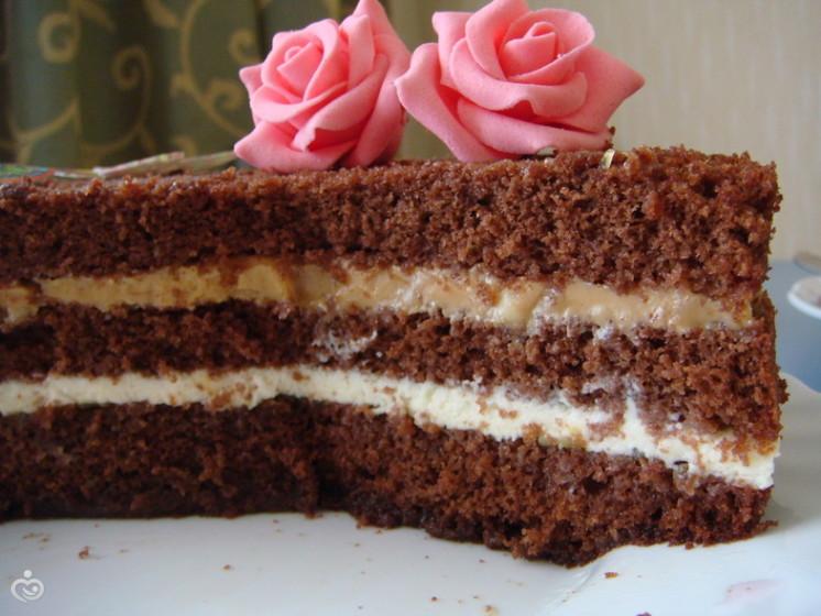 Торт из бисквитных шоколадных коржей с фото
