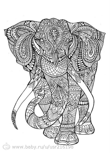 Слон антистресс раскраска