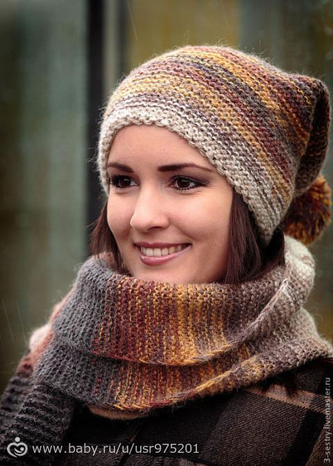 Как связать шапку с шарфом женскую