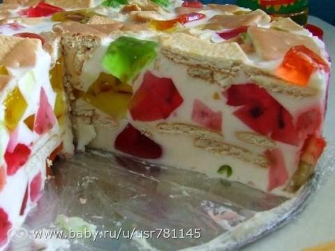 Сметанно-желейный тортик пошаговое фото