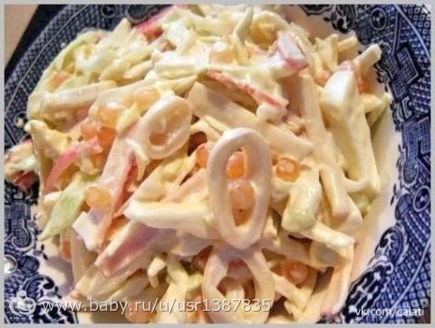 Рецепты салата с кальмаром с фото