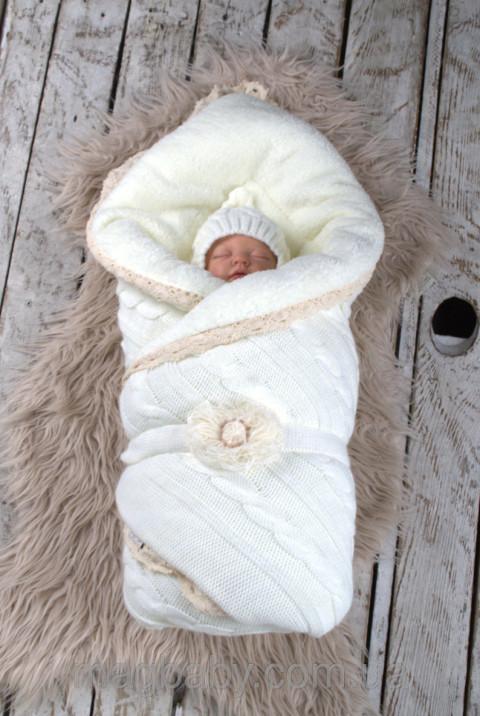Вязаное одеяло конверт для новорожденного