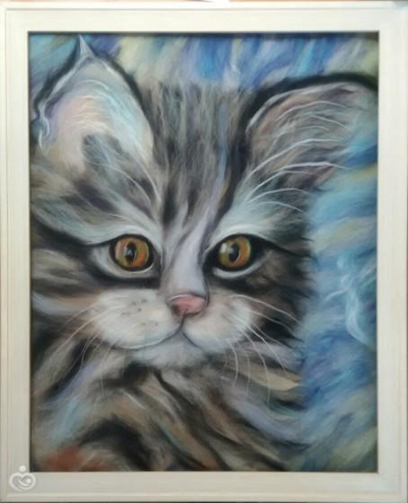 Котик по мотивам Пола Найта. Шерстяная живопись.