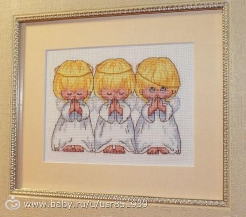 Вышивка три ангелочка на беременность