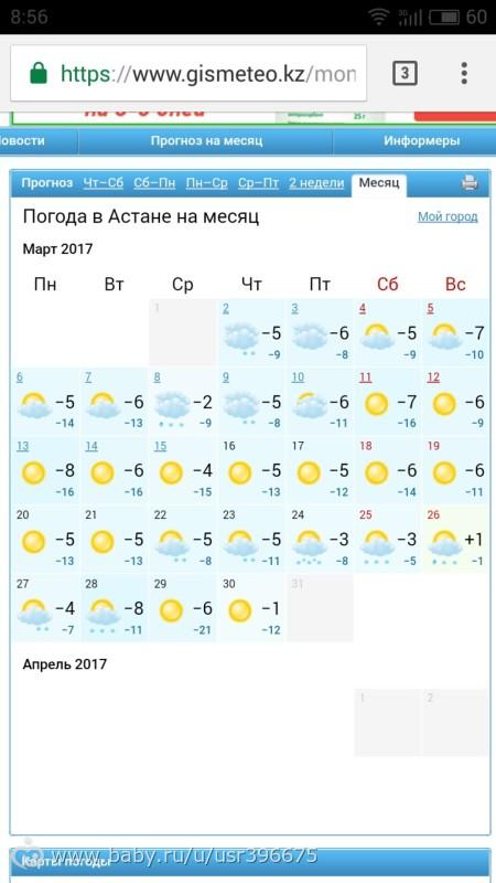 активная погода астаны на март 2017 выбора термобелья